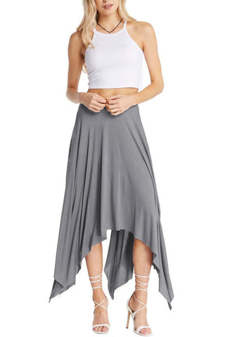 Grey Uneven Hem Skirt
