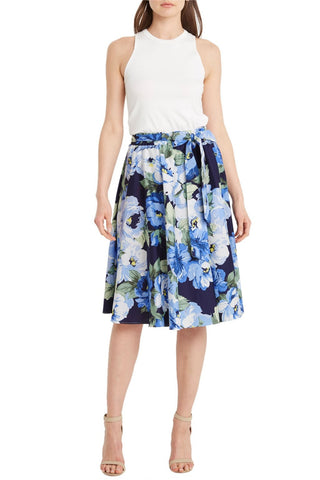 Blue Floral Front Tie Midi Skirt