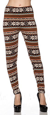 Heavy Weight (Fur Inside)Stretch Long Legging Yoga/Gym Pants (Orange Brown Snowflakes) - Fashion Sense - 1