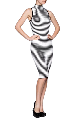 Bodycon Sweater Knit Stripes Dress - Fashion Sense - 1