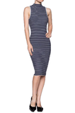 Bodycon Sweater Knit Stripes Dress - Fashion Sense - 3