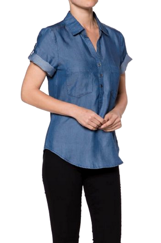Denim Short Sleeves Shirt - Fashion Sense - 4