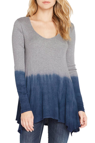 Silky Dip-Dye Jersey Handkerchief Hem Line Long Sleeve Tunic - Fashion Sense - 1