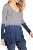 Silky Dip-Dye Jersey Handkerchief Hem Line Long Sleeve Tunic - Fashion Sense - 2