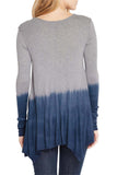 Silky Dip-Dye Jersey Handkerchief Hem Line Long Sleeve Tunic - Fashion Sense - 3