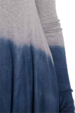 Silky Dip-Dye Jersey Handkerchief Hem Line Long Sleeve Tunic - Fashion Sense - 4
