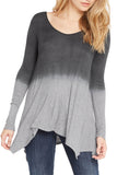 Silky Dip-Dye Jersey Handkerchief Hem Line Long Sleeve Tunic - Fashion Sense - 6