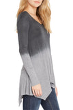 Silky Dip-Dye Jersey Handkerchief Hem Line Long Sleeve Tunic - Fashion Sense - 7