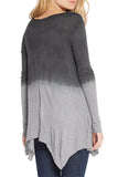 Silky Dip-Dye Jersey Handkerchief Hem Line Long Sleeve Tunic - Fashion Sense - 8