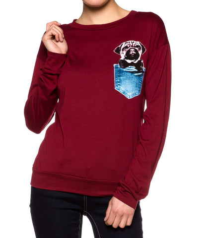 Pug Print Top Long Sleeve - Fashion Sense - 4