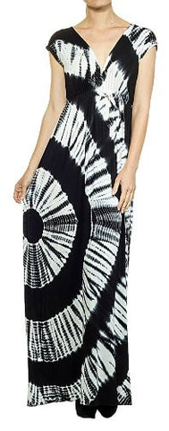 Circle Tie Dye Deep V Overlap Maxi Dress - Fashion Sense - 1