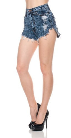 High Waist Acid Wash Distress Denim Shorts - Fashion Sense - 1