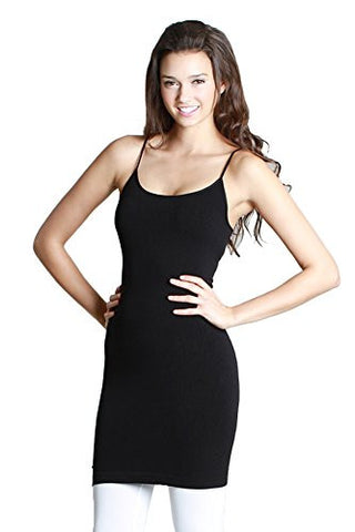 Nylon Span Spagetti Strap Cami Long Inner Dress Top (One Size) - Fashion Sense - 1