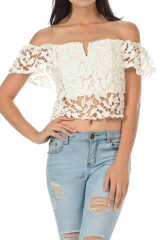 Open Shoulder Lace Crochet Tube Crop Top - Fashion Sense - 1
