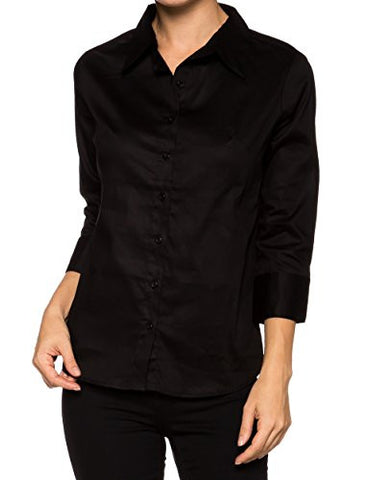 Classic Stretchy Cotton 3/4 Sleeve Button Down Y Shirts - Fashion Sense - 1
