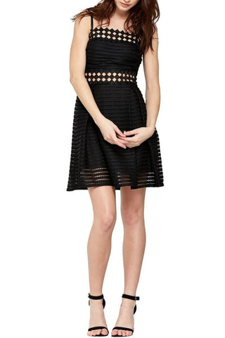 Black Checkered-Trimmed Eyelet Dress