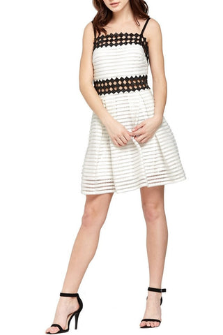 Off White Checkered-Trimmed Eyelet Dress