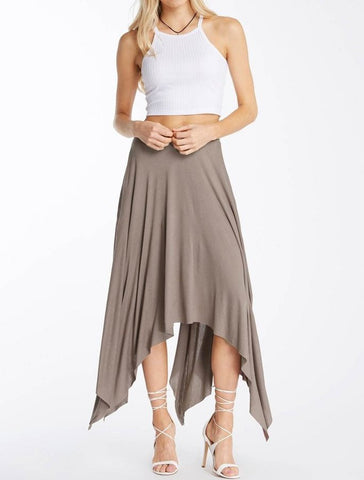 Solid Grey Uneven Hem Lining Skirt