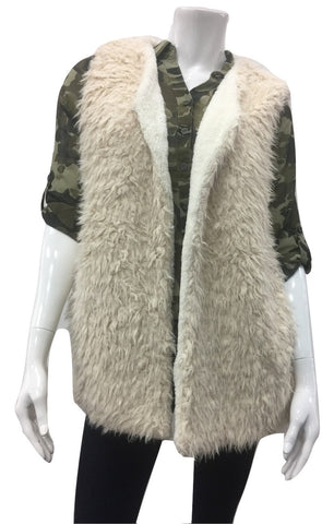 Faux Fur Vest With Soft Sherpa Linning - Fashion Sense - 1