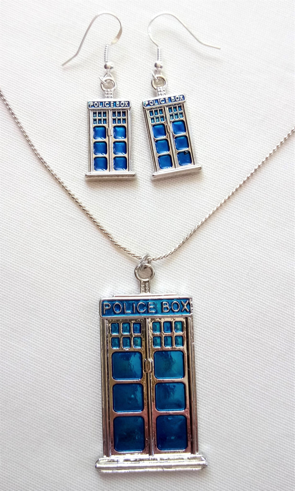 Police Box Earrings & Necklace Set