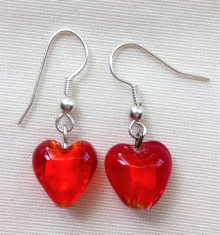 Earrings - Red Murano Hearts