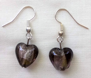 Earrings - Smokey Murano Hearts