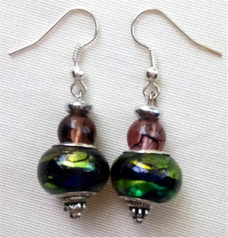Earrings - Green Murano
