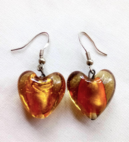 Earrings - Golden Murano Hearts