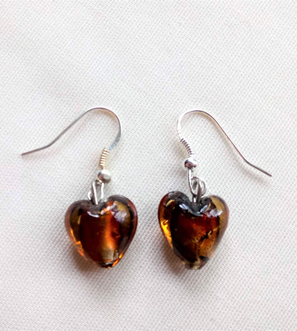 Earrings - Amber Murano Hearts