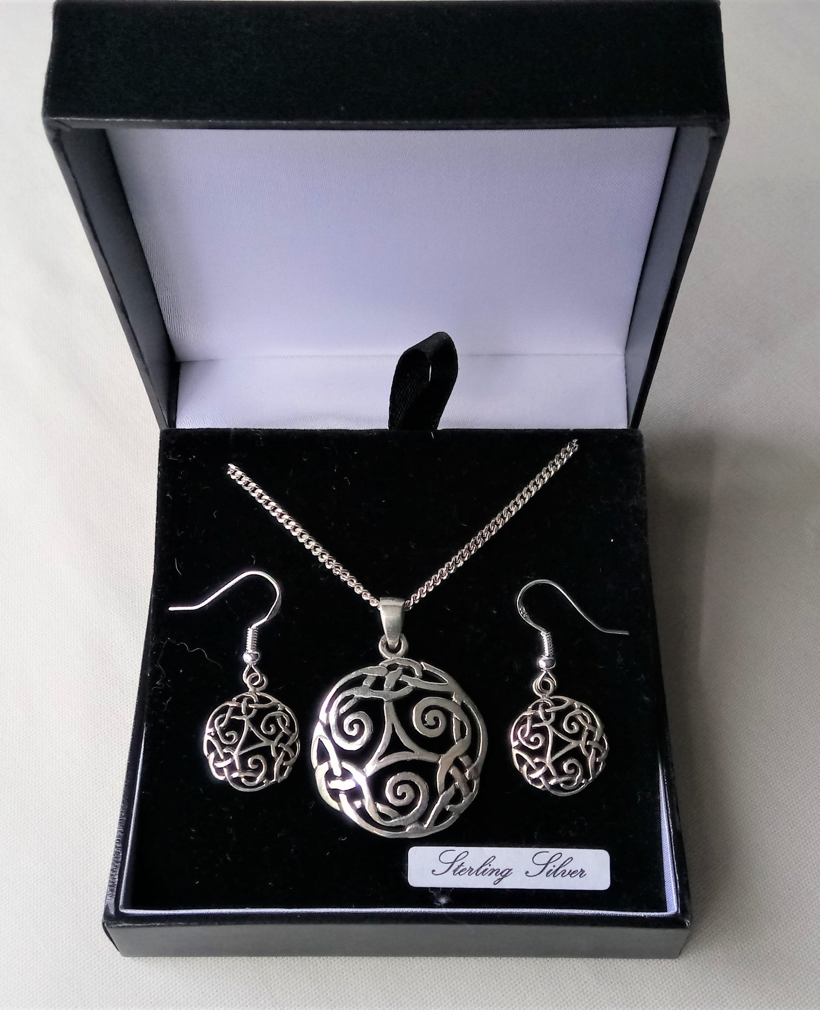 Celtic Triskele Necklace & Earring Gift Set - Sterling Silver