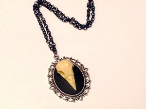 Crow Skull Cameo Necklace