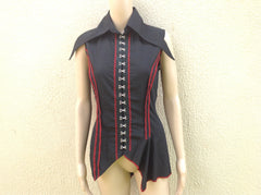 Moonlight Sage Sleeveless Shirt Black & Red