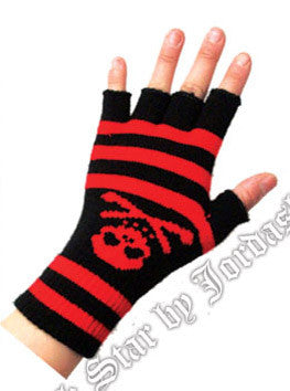 Gloves Striped Skull & Bones - Fingerless