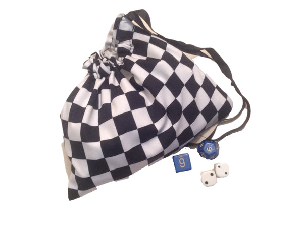 Black & White Check Dice Bags