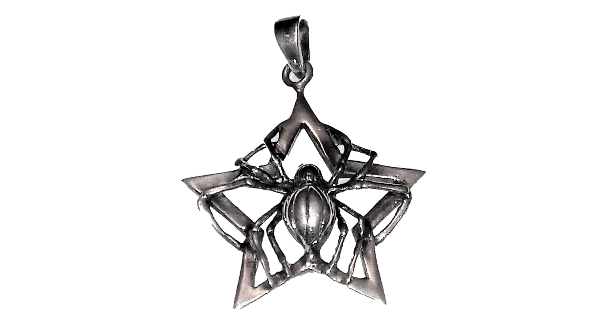 Spider on Star Pendant - Sterling Silver