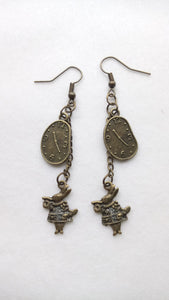 Earrings - Bronze White Rabbit