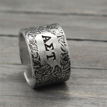 Alpha Sigma Tau Floral Texture Ring - Pure Impressions Design - 1