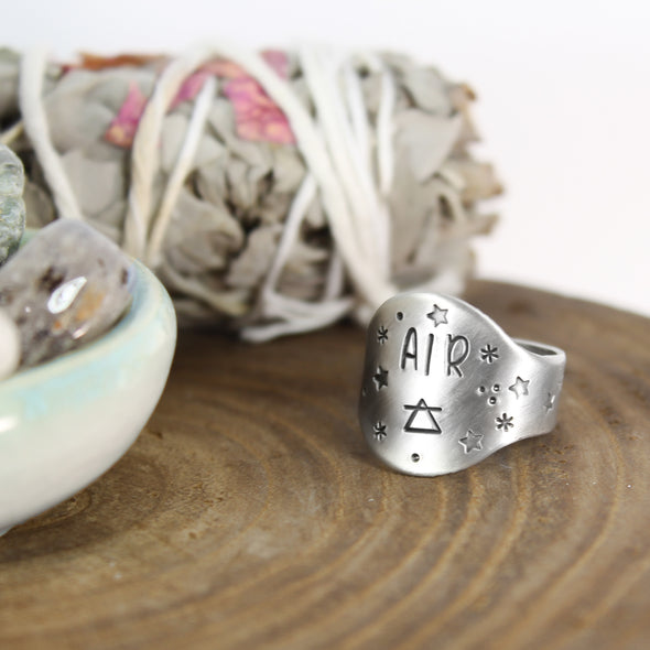 Air Element Saddle Ring with Sage and crystals