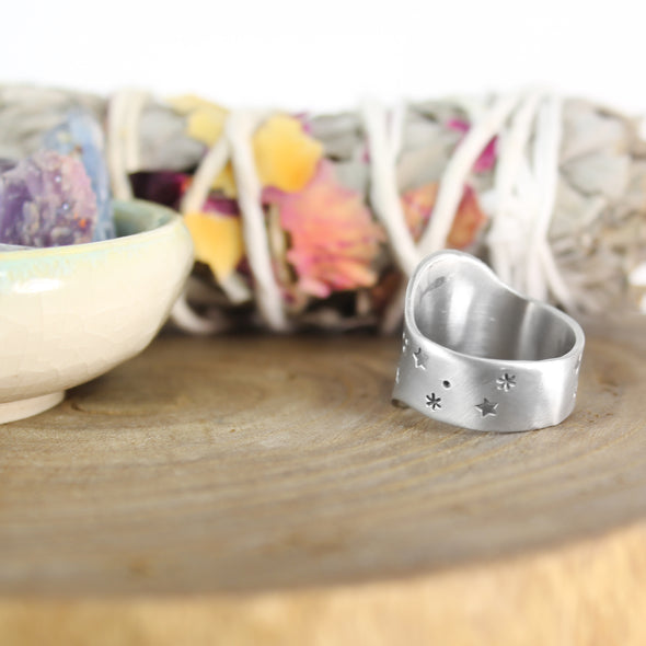 Air Element Ring with Sage & Crystals