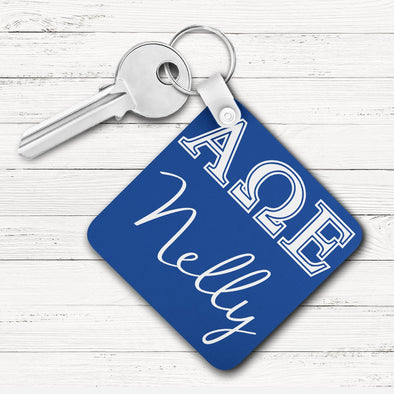 Alpha Omega Epsilon Square Key Chain