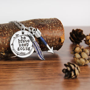 Be Brave Inspiration Necklace on Wood with Acorns