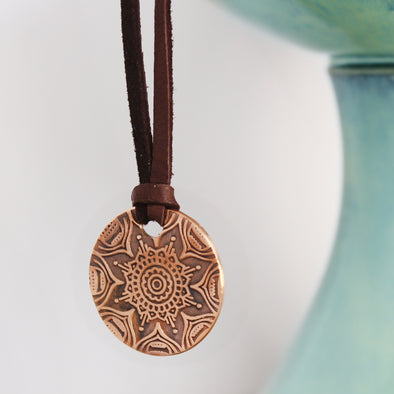 Copper Mandala Necklace on Leather Cord