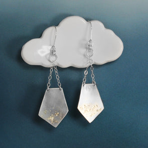 Geometric Silver & Gold Earrings Hanging from a cloud on a blue background