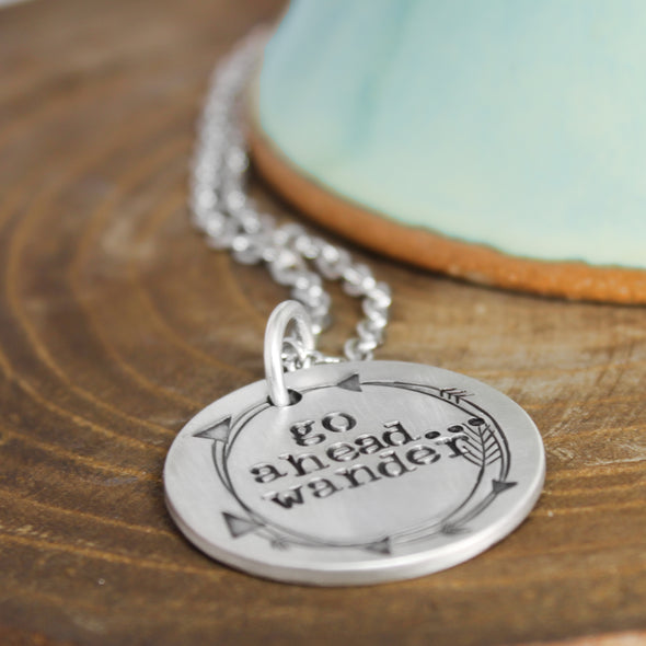 Go Ahead Wander Necklace with Wood & Teal Background
