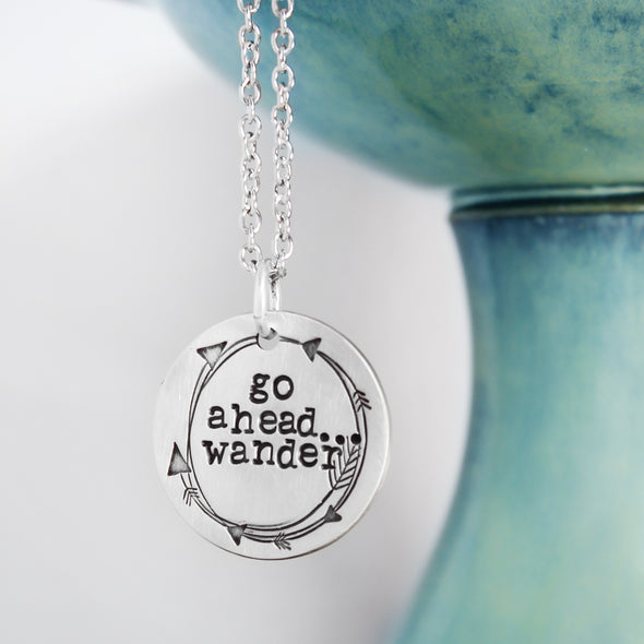 Go Ahead Wander Necklace with White & Teal Background
