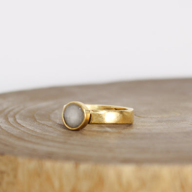 Gold Selenite Bezel Ring
