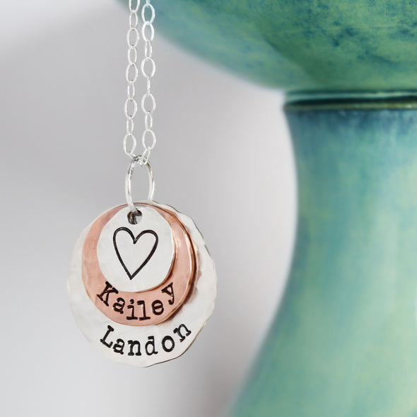 Silver & Copper Hammered Mother Necklace