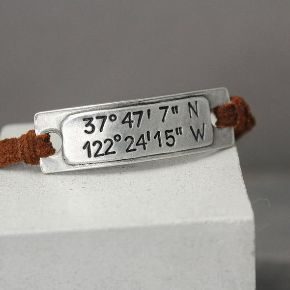 Leather Coordinate Bracelet