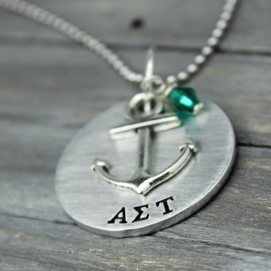 Alpha Sigma Tau Anchor Necklace - Pure Impressions Design - 1