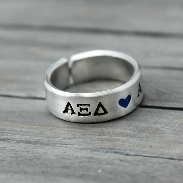 Alpha Xi Delta Heart Ring - Pure Impressions Design - 2